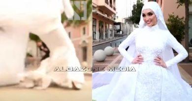 Nusja në Liban pozon për fotot e dasmës, ndërsa në ato momenti ndodh edhe shpërthimi (Video)