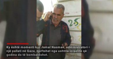 Momenti kur administratori i ndërtesës telefonohet nga izraelitët para bombardimit